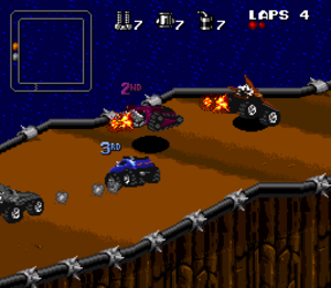 Rock n' Roll Racing - A race on the SNES version.