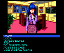 "Game screenshot. The top half of the screen has an image of a young girl standing in a room looking at the player. She has blue hair and a pink outfit. The bottom half of the screen has options for the player including options like ""Move, Look, Investigate, and Ask"""