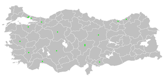 2006–07 Süper Lig - Locations of the 18 Super League clubs in the 2006–2007 season, as green dots.