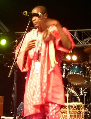Talking drum - Senegalese Tama player, Yamar Thiam of the Finnish group Galaxy, performing at the Imatra Big band Festival at Imatra, July 2005
