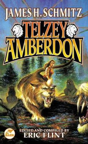 Telzey Amberdon - Telzey and Crest Cats on the cover of the 2000 Baen edition. Art by Bob Eggleton.