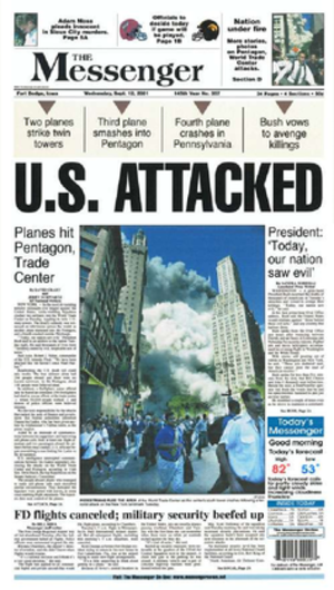 The Messenger (newspaper) - Image: The Messenger September 12, 2001 front page