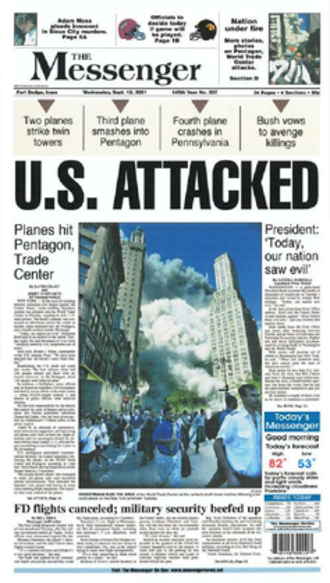 The Messenger (newspaper) - The September 12, 2001 front page of The Messenger