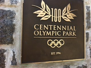 The marker at the entrance to Olympic Park in Atlanta