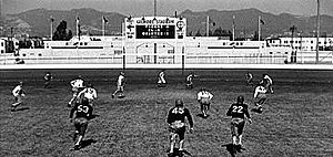 Gilmore Stadium - Stadium scoreboard and Hollywood Hills in Three Little Pigskins.