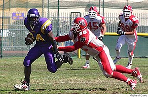 Archbishop Riordan High School - Tyrone McGraw, '06, in a football game for the Crusaders against Burlingame