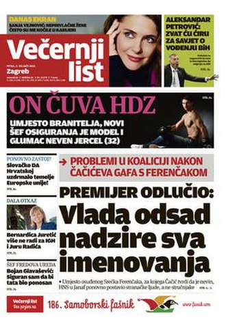 Večernji list - Front page of the 3 February 2012 issue