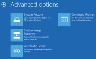 Windows Preinstallation Environment - Windows 8 Recovery Environment, Advanced Options section, showing four of the six available options
