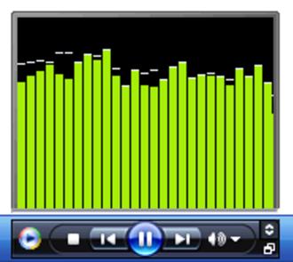 "Windows Media Player - Windows Media Player 11 running in mini mode (in Windows XP MCE) showing the ""Bars and Waves"" visualization"