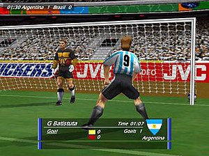 World Cup 98 (video game) - In-game screenshot of a match between Argentina and Brazil