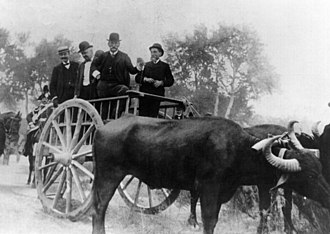 1902 in Italy - Italian Prime Minister Giuseppe Zanardelli standing on a cart drawn by oxen during a visit to Basilicata in September 1902