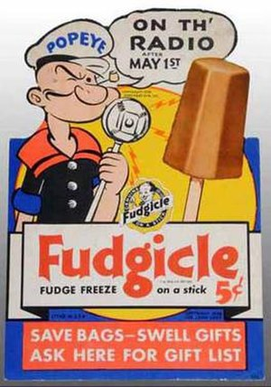 Popsicle (brand) - Fudgicle advertisement from 1938. Popsicle brands sponsored the Popeye radio show in 1938-9.
