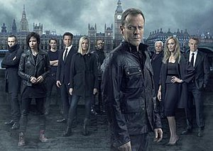 24: Live Another Day - 24: Live Another Day main cast: (from left to right) Michael Wincott, Mary Lynn Rajskub, Giles Matthey, Benjamin Bratt, Yvonne Strahovski, Gbenga Akinnagbe, Kiefer Sutherland, William Devane, Kim Raver, and Tate Donovan