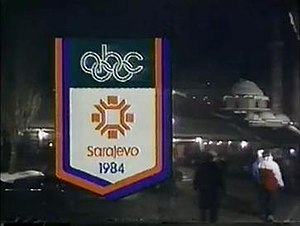 ABC Olympic broadcasts - An indent for ABC Sports' coverage of the 1984 Winter Olympics. This instance during the closing ceremony.