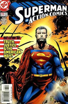 Superman on his knees surrounded by devastation and an American flag in tatters