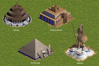 Age of Empires (video game) - The four different wonders for each of the four architectural styles.