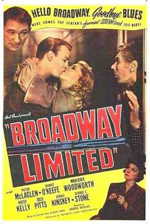 Broadway Limited (film) - Pictured: Victor McLaglen, Dennis O'Keefe, Marjorie Woodworth, Leonid Kinskey and ZaSu Pitts