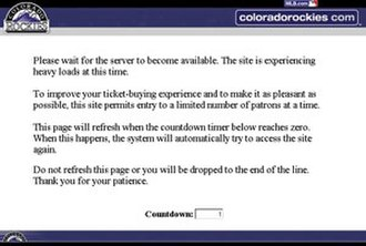 2007 World Series - The countdown page seen by many people attempting to buy World Series tickets: when the countdown completed it would either load a page to select seats or just restart the countdown.