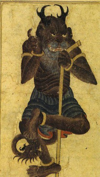 Shaitan - Depiction of a Shaitan made by Siyah Qalam between the 14th and the 15th century