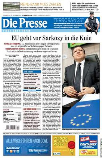 "Die Presse - Front page on 30 September 2010. The headline reads ""EU goes soft on Sarkozy"", referring to the French president's deportation of Roma migrants from France."