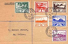 Stamps designed by Blampied issued in 1943 for use in Jersey during the German Occupation