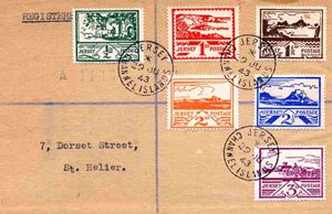 Edmund Blampied - Stamps designed by Blampied issued in 1943 for use in Jersey during the German Occupation