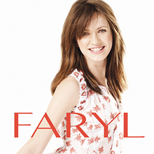 "An album cover depicting a smiling, brown-haired girl in her early teens on a white background, featuring ""FARYL"" in bold, red letters."