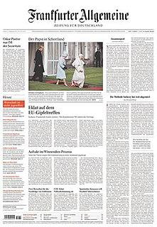 <i>Frankfurter Allgemeine Zeitung</i> German daily newspaper