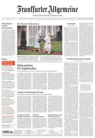 Frankfurter Allgemeine Zeitung - Image: Frankfurter Allgemeine front page