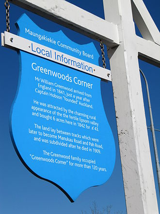 Greenwoods Corner, New Zealand - Greenwoods Corner community sign, placed at the crossroads of Manukau Rd and Pah Rd.