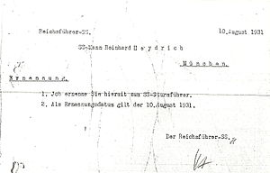 Service record of Reinhard Heydrich - Commissioning order for Reinhard Heydrich to assume duties as an SS-officer