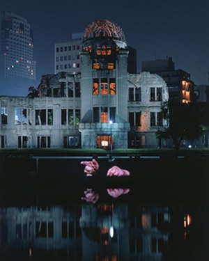 Krzysztof Wodiczko - Hiroshima Projection, 1999. Public video projection at the A-Bomb Dome, Hiroshima, Japan.