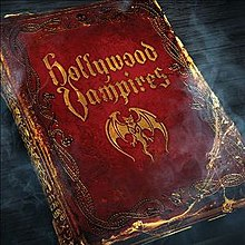 "Album cover depicting a gothic-style red leather-bound book titled ""Hollywood Vampires"""