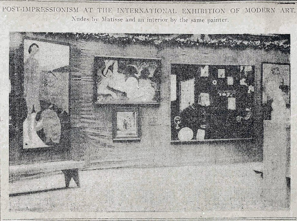 Installation shot of the Matisse room, 1913 Armory Show, published in the New York Tribune, February 17, 1913, p. 7