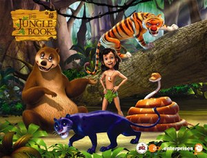 The Jungle Book (TV series) - All major characters from The Jungle Book. From clockwise: Baloo, Mowgli, Shere Khan, Kaa, and Bagheera.