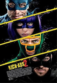 Four faces, against a black background, white diagonal lines dividing them. An older man with rough stubble on his chin, in a blue mask; a girl with purple hair wearing a purple mask; a man in a green and yellow mask; a man in a black mask.