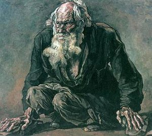 Pavel Korin - Beggar, Etude for Farewell to Rus, 1933