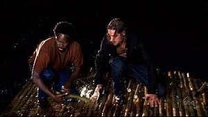 Adrift (Lost) - Michael and Sawyer on the destroyed raft