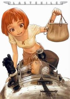 A red-haired girl holding a canteen and a boy in a pilot suit looking up at her