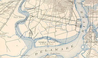 Fort Beversreede - 1891 USGS 1891 map showing the confluence of the Schuylkill and Delaware Rivers, site of most upstream Dutch and Swedish forts