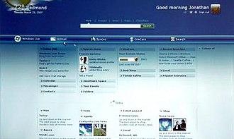 Windows Live Home - Early prototype screenshot of Windows Live Home.