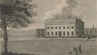 Robert Knight, 1st Earl of Catherlough - Luxborough House, Chigwell, Essex, built by Robert Knight, snr. before 1721. Demolished c. 1796. Inscribed: J.Prattent delt. et Sculp. Essex Record Office, 1/Mb 80/1/12