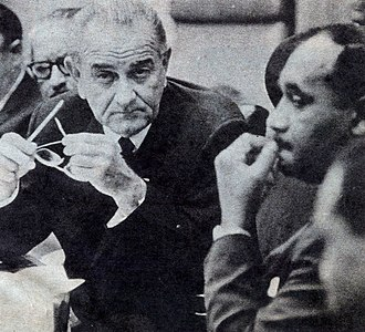 Clarence Mitchell Jr. - President Lyndon Johnson meets with Mitchell and other black leaders after the death of Martin Luther King, Jr. in 1968.