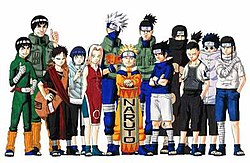 The Major Characters Of Series As They Appear In Part I Seen From Left To Right Lee Guy Gaara Hinata Sakura Kakashi Naruto Iruka Sasuke
