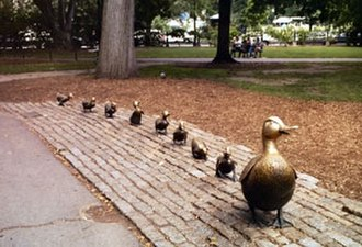 Make Way for Ducklings - A bronze statue of the ducklings by Nancy Schön is a popular attraction in Boston Public Garden. It is said the Ducks never need professional polishing because children sit on them so often. A replica installed in Moscow was a gift from United States First Lady Barbara Bush to Soviet First Lady Raisa Gorbachev.
