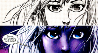 Marvel 1602 - Kubert's pencils (top) contrasted with the finished panel