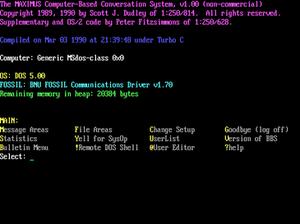 Maximus (BBS) - Image: Maximus BBS 1.0