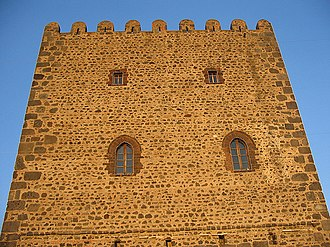 Motta Sant'Anastasia - Close-up of the Norman Tower in Motta Sant'Anastasia.