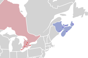National Basketball League of Canada - Image: NBL Canada Franchise Map