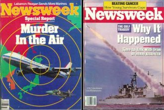 "Iran Air Flight 655 - Newsweek covers for 12 September 1983 (left) and 18 July 1988 (right), illustrating the KAL007 and Iran Air incidents respectively. The caption ""Murder in the Air"" framed the KAL incident as a deliberate act of war, whereas ""Why It Happened"" framed the Iran Air incident as a tragic mistake."
